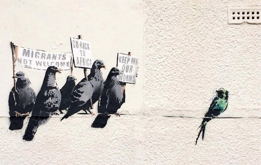 Banksy murales Birds of a feather - 2014 Clacton on sea, Essex GB